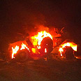 Egyptian armored vehicle on fire Photo: IDF