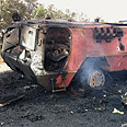 Vehicle destroyed by IDF Photo: IDF Spokesperson&#39;s Unit