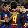 Barcelona players. Most popular soccer team in Palestinian territories Photo: Getty Images