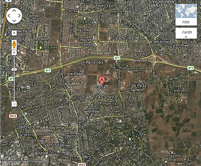 מפה של שכונת גנים בגני תקווה (צילום: גוגל מפות)