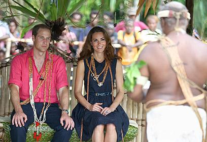 מידלטון והנסיך וויליאם באיי שלמה, אתמול (צילום: AP)