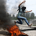 Violent protest in Kashmir, earlier this week Photo: EPA