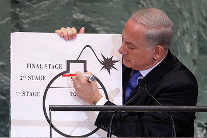 Netanyahu at UN with cartoon-like bomb. (Photo: Reuters)