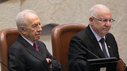 Outgoing President Shimon Peres and President-elect Reuven Rivlin Photo: Ohad Zwigenberg