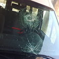 Car in Nof Tzion hit by stone Photo: Aryeh Rozan - Tazpit News Agency