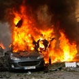 Scene of Beirut car bomb attack Photo: Reuters