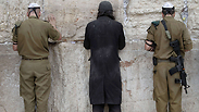 Haredi soldiers praying at the Western Wall Photo: AFP