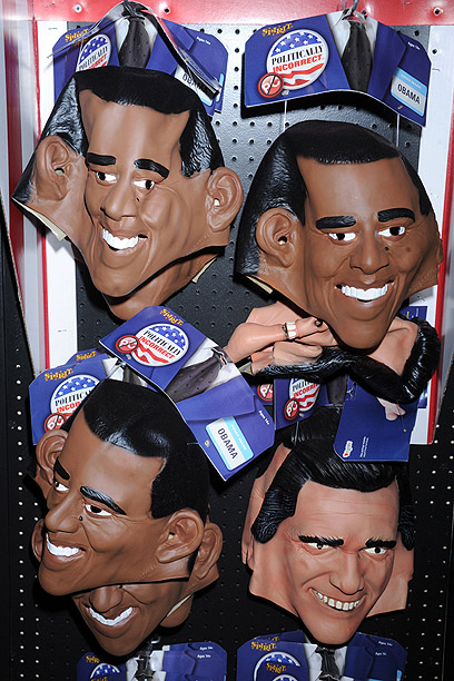 Obama and Romney masks displayed for Halloween (Photo: MCT)