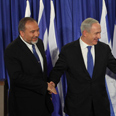 Netanyahu and Lieberman at press conference Photo: Gil Yohanan