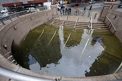 Flooded subway station in Battery Park (Photo: AFP)