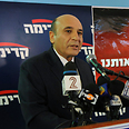 Mofaz speaks to reporters Photo: Yaron Brenner