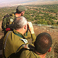 Gantz (middle) tours Golan border region Photo: IDF Spokesperson's Unit