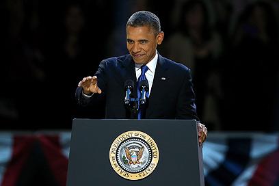מתכנן נקמה? אובמה בנאום הניצחון, הבוקר (צילום: AFP)