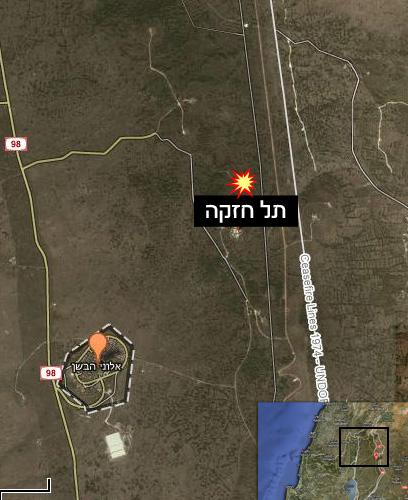 """מפת האזור שאליו נורה הפצמ""""ר מסוריה (צילום: Google Maps)"""