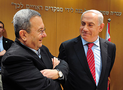 Netanyahu and Barak (Photo:Ariel Hermony, Defense Ministry)