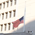 Flag at half-mast, US Embassy in Israel Photo: Moti Kimchi