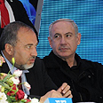 Likud's Netanyahu with Yisrael Beiteinu's Lieberman Photo: Herzel Yosef