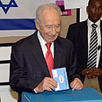 Peres voting last week Photo: Moshe Milner, GPO