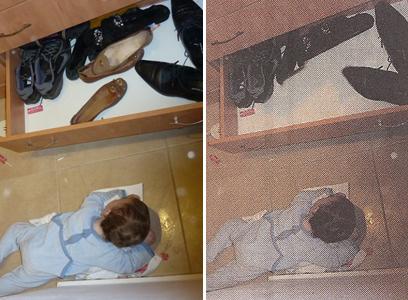 """משמאל - התמונה לפני הצנזורה. מימין: התמונה כפי שהופיעה בידיעה ב""""המודיע"""" (צילום: רשף משנה אסף אברס, דובר כבאות והצלה ירושלים)"""