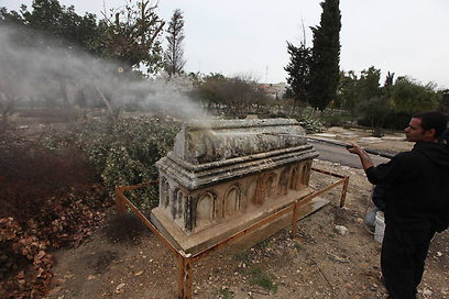 One of desecrated graves (Photo: Gil Yohanan)