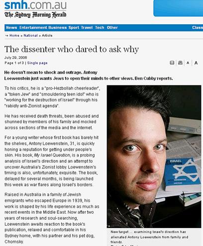 לווינשטיין בכתבה עליו באתר חדשות אוסטרלי ()