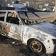 Torched vehicle in Qusra Photo: Panet website