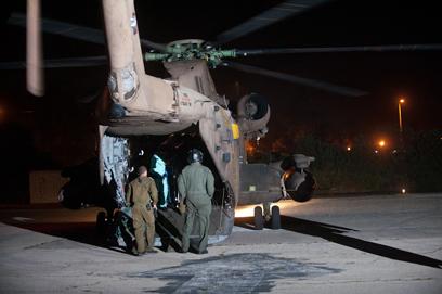 המסוק לאחר הנחיתה בבית החולים אסף הרופא (צילום: בני דויטש)