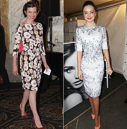פרחוניות על השטיח האדום: הסופר מודל מירנדה קר (מימין) והשחקנית מילה גובוביץ' (צילום: Gettyimages)