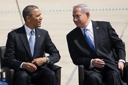 המפגש ה-12. אובמה ונתניהו בטקס קבלת הפנים (צילום: AFP)