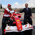 Ferrari team driver Giancarlo Fisichella with Jerusalem Mayor Nir Barkat Photo: Amit Shabi