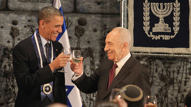 Peres and Obama at the President's Residence in Jerusalem (Photo: Gil Yohanan) (Photo: Gil Yohanan)