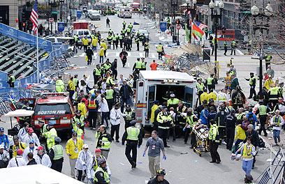 הפיגוע במרתון בוסטון (צילום: AP)