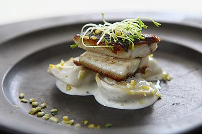 פילה מוסר ים על טורטליני של שף אמזלג (צילום: לירון אלמוג)