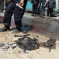 Scene of strike that killed Gaza terrorist Photo: AFP