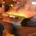 Burning bins in Mea Shearim Photo: Aaron Wahab, 24 News Agency