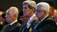 President Peres, US Secretary of State Kerry and PA President Abbas at the World Economic Forum. Photo: AP
