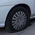 Slashed tires in Abu Ghosh Photo: Ohad Zwigenberg
