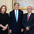 Livni, Kerry, Erekat Photo: AFP