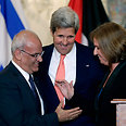 Erekat, Kerry, Livni Photo: Reuters