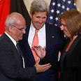 Kerry with Erekat and Livni Photo: AP