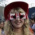 Canadian fan at Maccabiah closing ceremony Photo: Haim Zach