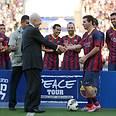 President Peres with Barca forward Messi Photo: Reuven Schwartz