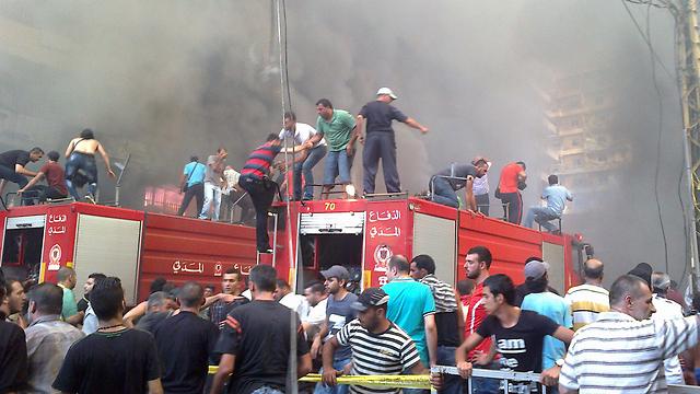 Bombing in Dahiyeh (Photo: AFP)