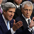 Kerry and Hagel at Senate Photo: AFP