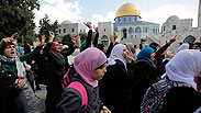 Protest at Temple Mount, Tuesday morning Photo: Reuters
