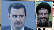 Pro-Syrian protesters carry posters of Assad, Nasrallah Photo: Reuters