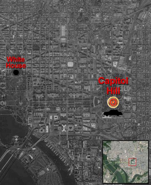 """אינפו גרפיקה מפה ירי ב גבעת הקפיטול וושינגטון ארה""""ב הבית הלבן"""