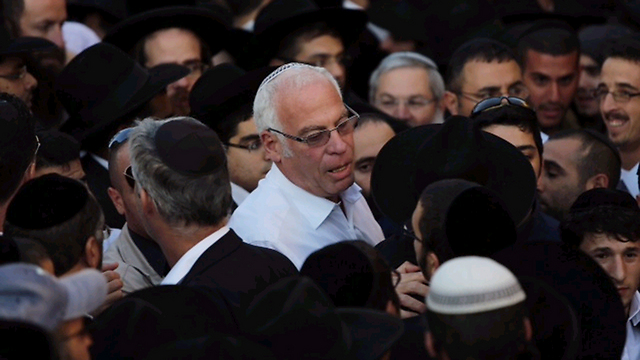MK Uri Ariel at the funeral (Photo: Ohad Zwingenberg)