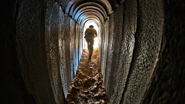 Hamas tunnel from Gaza to Israel, uncovered by the IDF (Photo: EPA) (Photo: EPA)