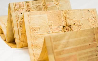 מהאדם הראשון, דרך ישו ועד המאה ה-14. מגילת אילן היוחסין (צילום: מוזאון ארצות המקרא)